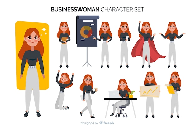 Businesswoman character set Free Vector