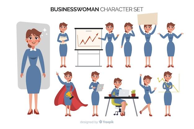 Businesswoman character set Free Vector