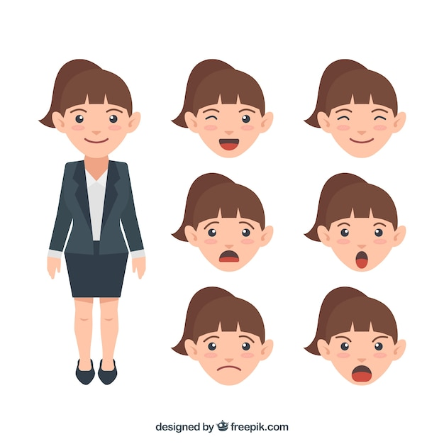 Businesswoman character with a collection of expressive faces Free Vector