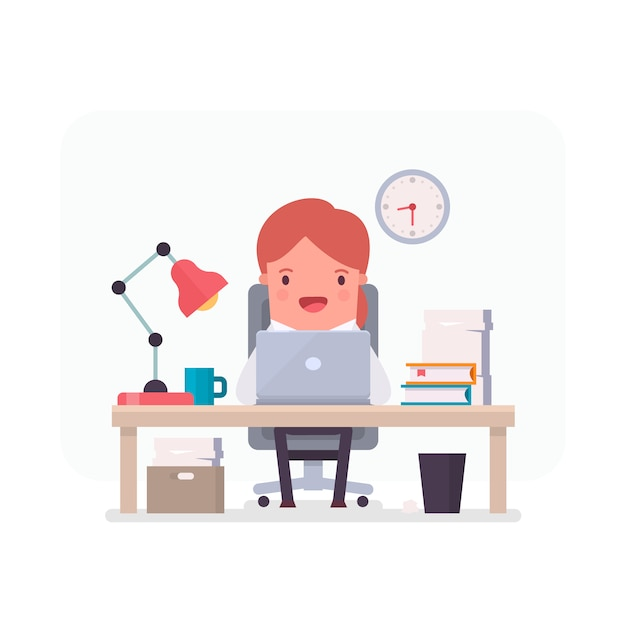 Businesswoman character working in an\ office