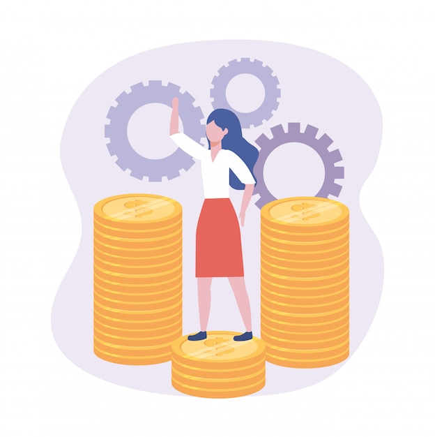 Businesswoman in the coins with gears digital information Free Vector