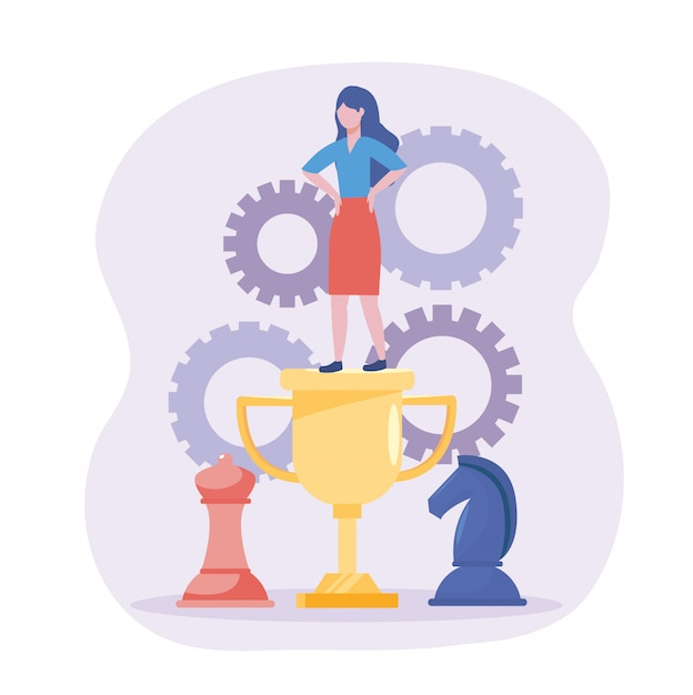 Businesswoman in the cup prize with horse and queen chess Free Vector