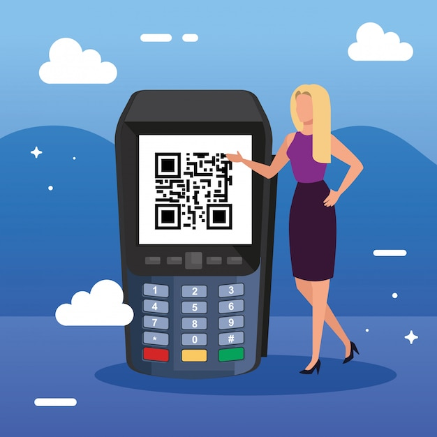 Businesswoman and dataphone with scan code qr Premium Vector