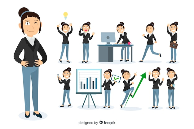 Businesswoman doing different actions Free Vector
