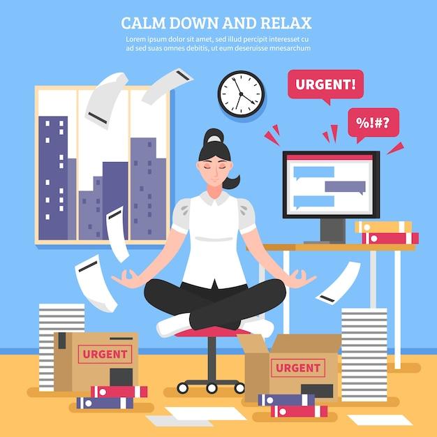Businesswoman doing meditation flat illustration Free Vector