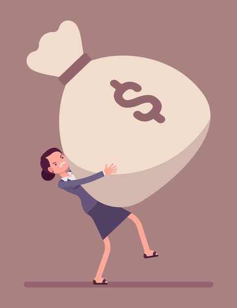 Businesswoman dragging money sack Premium Vector