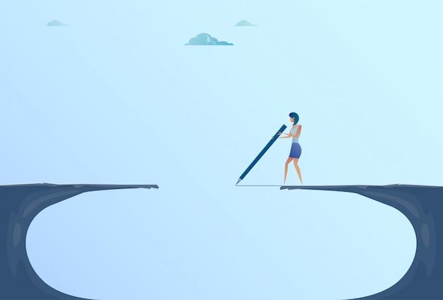 Businesswoman drawing bridge walking over cliff gap mountain business woman risk concept Premium Vector