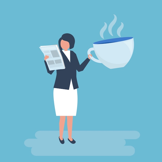 Businesswoman drinking coffee and reading a newspaper Free Vector