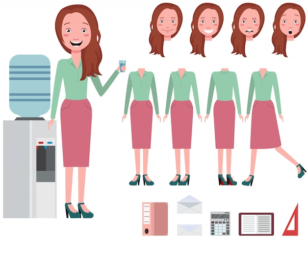 Businesswoman drinking water from cooler character set Free Vector