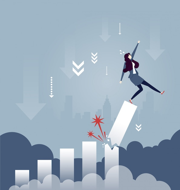 Businesswoman falling down from broken growth rate diagram - business concept Premium Vector
