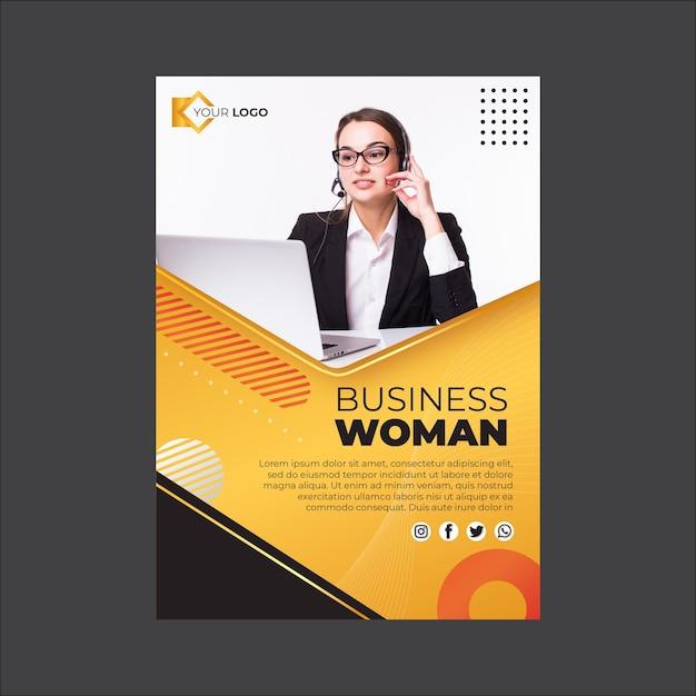 Modello verticale volantino donna d'affari Vettore gratuito