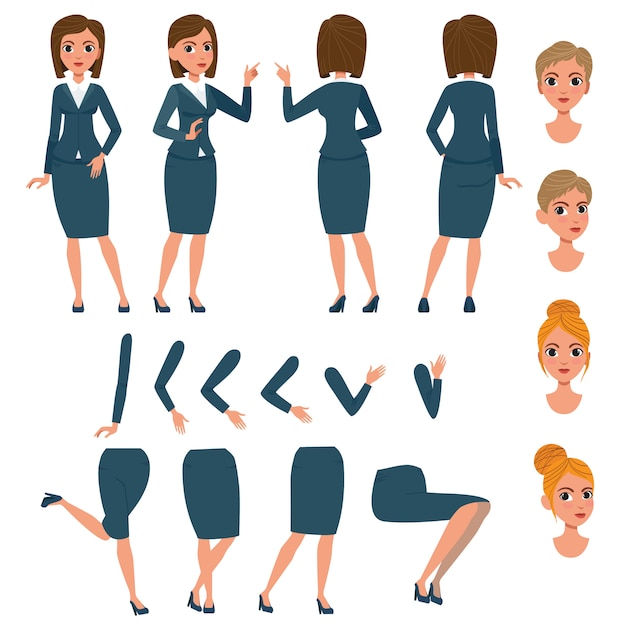 Businesswoman in formal suit character set Vector | Free