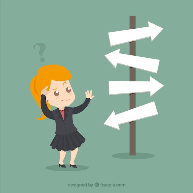 Businesswoman in front of a choice Free Vector