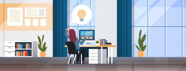 Businesswoman generating new business idea Premium Vector