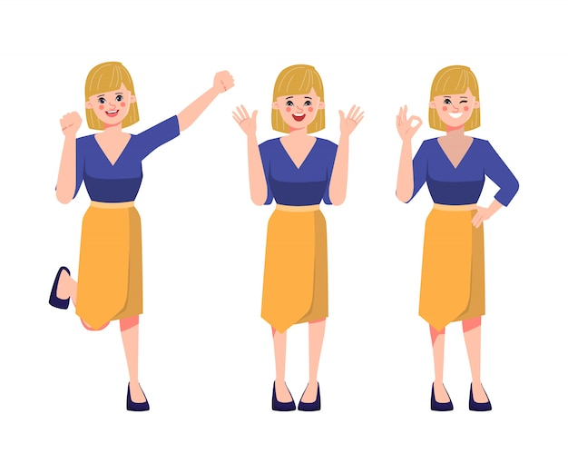 Businesswoman and happy emotions face. Premium Vector