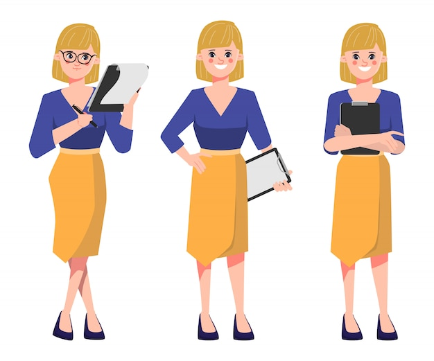 Businesswoman holding a clipboard document papers in job routine. Premium Vector