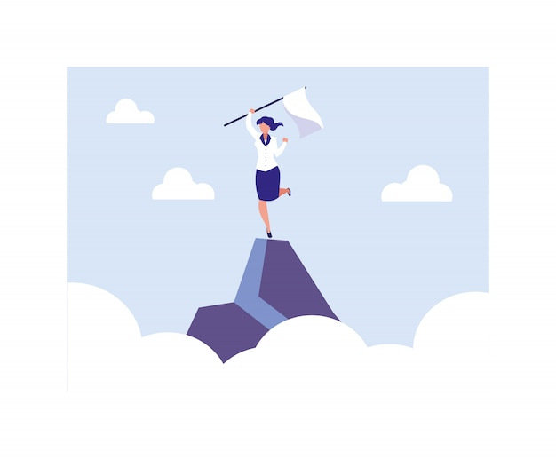 Businesswoman holding a flag in the mountain Premium Vector