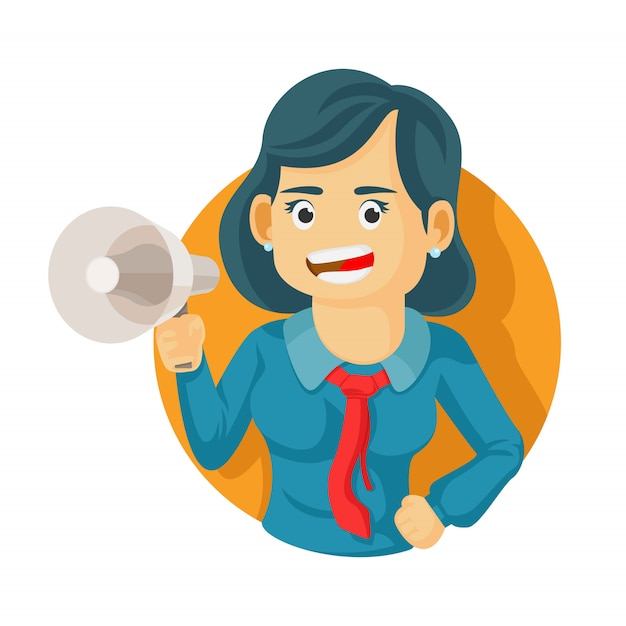 Businesswoman holding megaphone and screaming. cartoon character. business concept. vector flat design illustration. Premium Vector