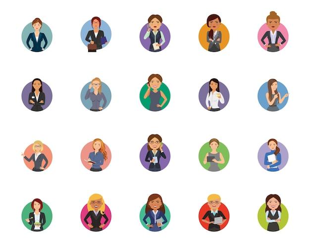 Set di icone imprenditrice Vettore gratuito