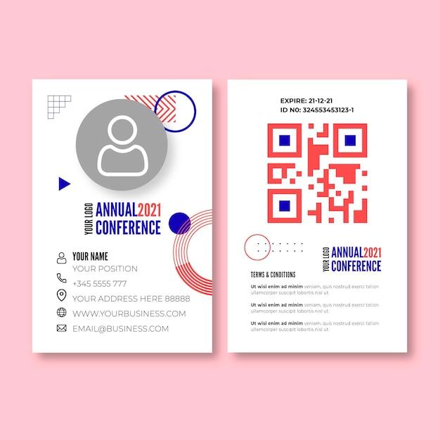 Modello di carta d'identità della donna di affari Vettore gratuito