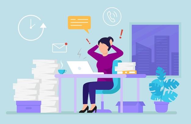 Предприниматель в современном офисе, окружающем перегружен работой. часы, окно, цветок Premium векторы