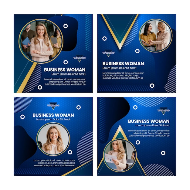 Businesswoman instagram posts collection Free Vector