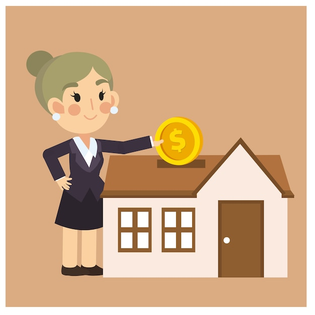 Premium Vector Businesswoman Is Saving Money For Buying A House Business Cartoon Character Vector
