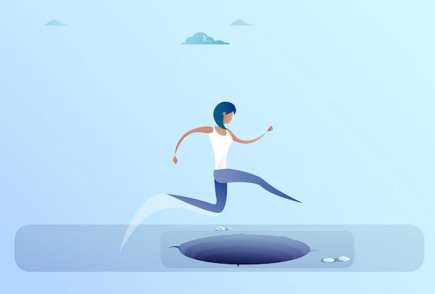 Businesswoman jump over gap to success business woman risk concept Premium Vector