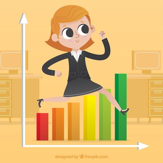 Businesswoman jumping a graph