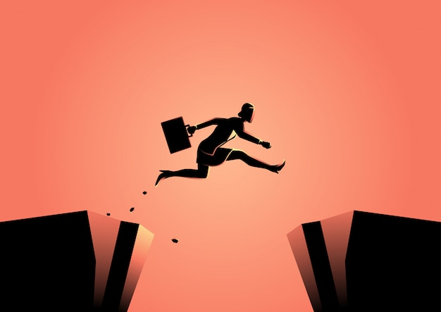 Businesswoman jumps over the ravine Premium Vector