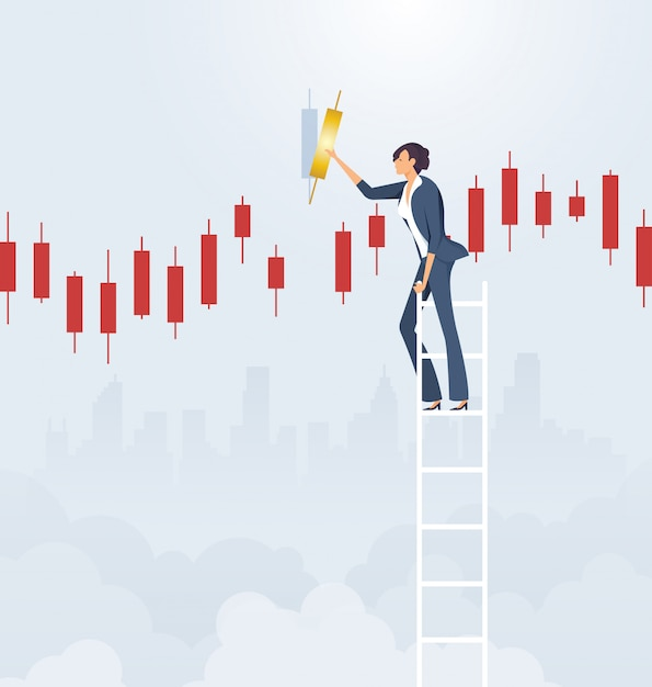 Businesswoman on ladder with candlestick chart Premium Vector