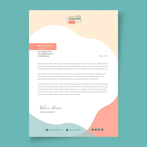 Businesswoman letterhead template Free Vector