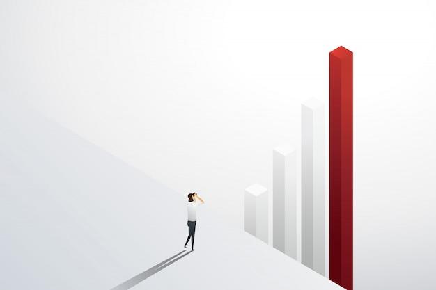 投資機会と成長のグラフを双眼鏡で見ている実業家。図 Premiumベクター