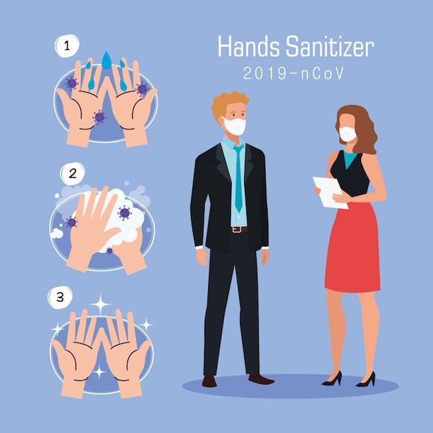 Businesswoman man and hands washing steps Premium Vector
