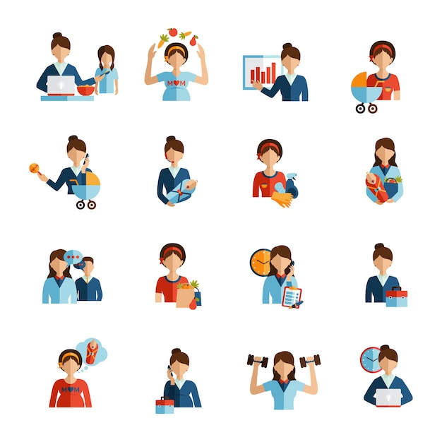 Businesswoman mother flat icons set Free Vector