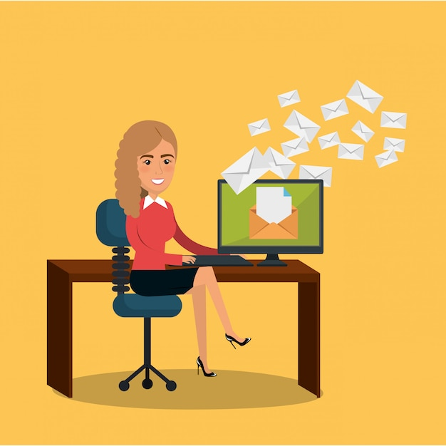 Businesswoman in the office with e-mail marketing icons Free Vector