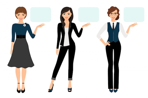 Businesswoman presentation vector illustration. adult woman business presenting isolated Premium Vector