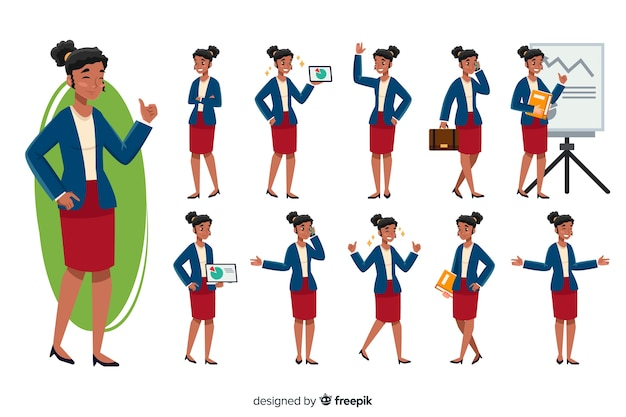 Businesswoman set with different\ postures