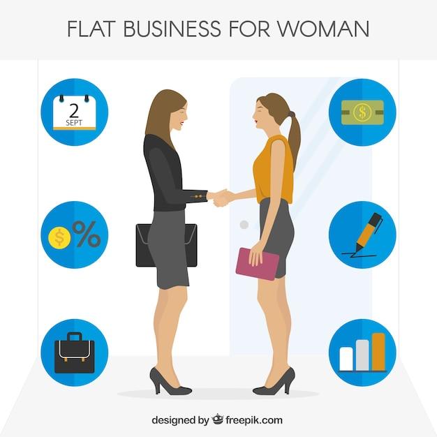Businesswoman shaking hands Premium Vector