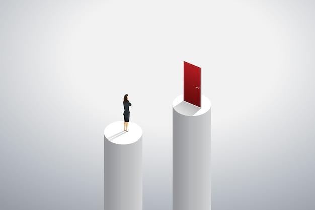 目標の成功への赤い扉に行く方法を考えて立っている実業家。 Premiumベクター