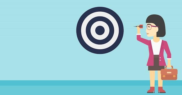 Businesswoman and target board Premium Vector