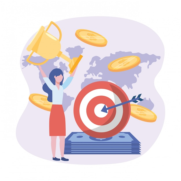 Businesswoman and target with arrow and bills and coins Free Vector