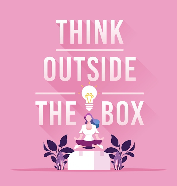 Businesswoman think outside the box concept Premium Vector