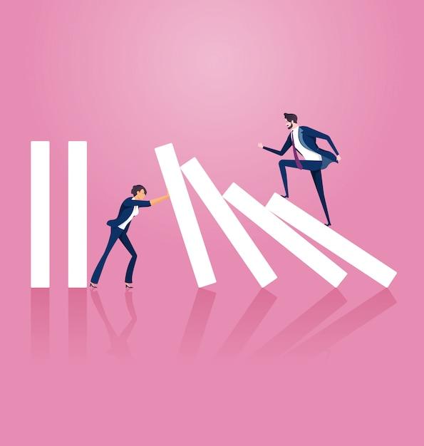 Businesswoman trying to stop domino effect Premium Vector