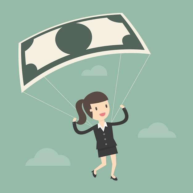 Businesswoman using bank note as a parachute. Premium Vector