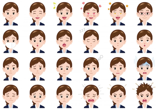 Businesswoman various expressions set. vector characters isolated Premium Vector