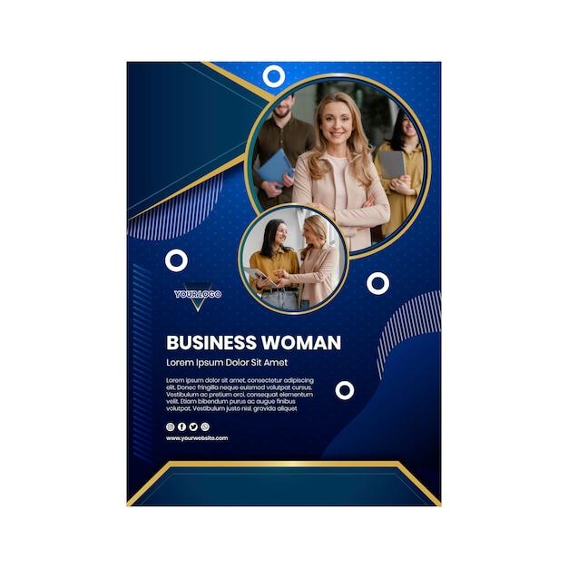 Деловая женщина вертикальный шаблон плаката Бесплатные векторы