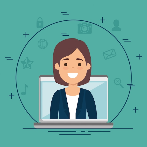 Businesswoman with business icons Free Vector
