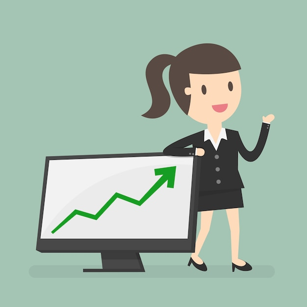 Businesswoman with a chart Free Vector
