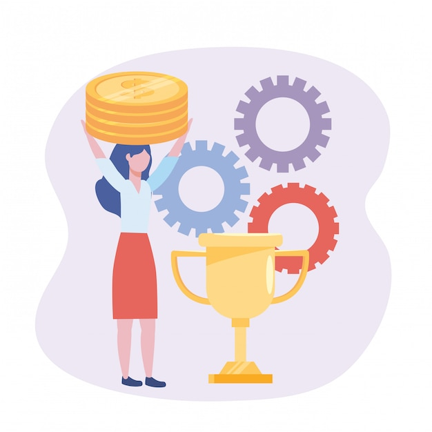 Businesswoman with coins and cup prize with gears Free Vector